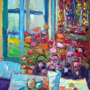 Taches de couleurs devant ma fenêtre 36x30