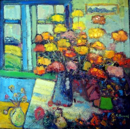 Fleurs et pot bleu 36x36